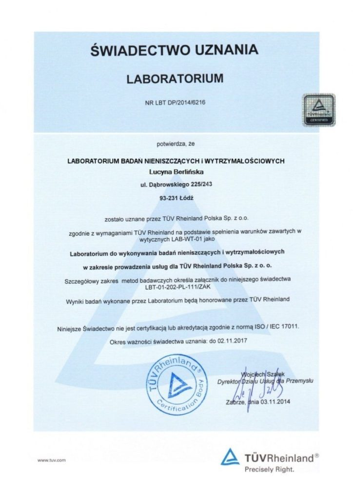 LBNiW - Certificate of Approval from TÜV Rheinland