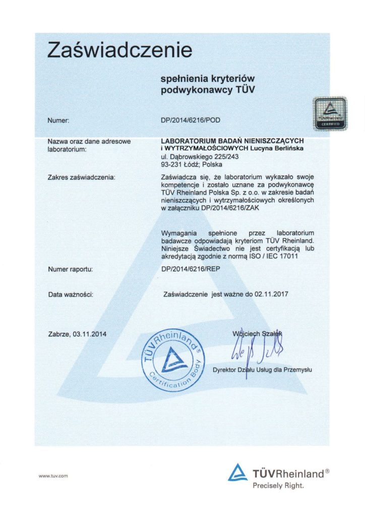 LBNiW - Subcontractor Cerificate from TÜV Rheinland